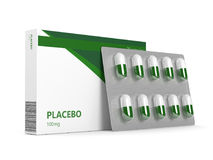 3D geef van placebopillen terug over wit Royalty-vrije Stock Fotografie