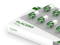 3D geef van placebopillen terug over wit Stock Afbeelding