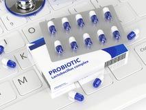 3d geef van probiotic pillen met stethoscoop terug Stock Fotografie