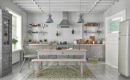 3d geef van Skandinavische vlakte terug - keuken Stock Afbeelding