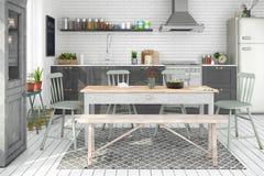 3d geef van Skandinavische vlakte terug - keuken Royalty-vrije Stock Afbeelding