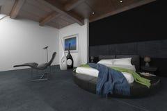 3D geef van slordig bed in ruimte met recliner terug Stock Afbeelding