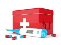 3d geef van thermometer, eerste hulpuitrusting en pillen terug Stock Fotografie