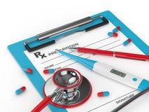 3d geef van thermometer, voorschrift, stethoscoop, en pillen terug Stock Afbeeldingen
