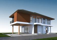 3D geef van tropisch huis met het knippen van weg terug Stock Afbeeldingen