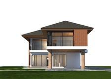 3D geef van tropisch huis met het knippen van weg terug Stock Fotografie
