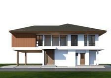 3D geef van tropisch huis met het knippen van weg terug Stock Foto