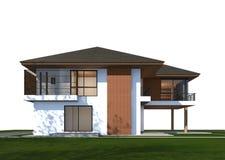 3D geef van tropisch huis met het knippen van weg terug Stock Afbeelding