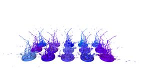 3d geef van verfplonsen op witte achtergrond worden geïsoleerd terug die Simulatie van 3d plonsen op een muzikale spreker die muz Stock Illustratie