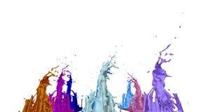 3d geef van verfplonsen op witte achtergrond worden geïsoleerd terug die Simulatie van 3d plonsen op een muzikale spreker die muz Vector Illustratie