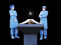 3d geef van verpleegster, chirurg en lijk in lijkenhuis terug stock fotografie