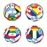 3D geef van 4 voetbalvoetbal terug Stock Fotografie