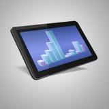 3d geef van zwarte tabletpc terug met markt Stock Afbeelding