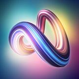 3d geef, vat achtergrond, moderne gebogen vorm, misvorming, glitch, kleurrijke lijnen, gloeiend neonlicht, ultraviolet spectrum s stock illustratie