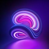 3d geef, vat achtergrond terug samen, glitchloop vorm, misvorming, violet roze gloeiend neonlicht, kleurrijke lijnen, ultraviolet stock illustratie