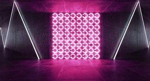 3d geef, vat achtergrond, tunnel, neonlichten, virtuele werkelijkheid, boog samen, doorboren blauwe, trillende kleuren, toont de  royalty-vrije stock foto's