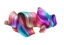3d geef, vat kwaststreek, neonvlek, kleurrijk gevouwen lint, verftextuur, artistieke die illustratie samen, op wit wordt geïsolee royalty-vrije stock afbeelding