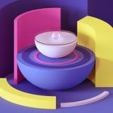 3d geef, vat minimale achtergrond, primitieve geometrische vormen, speelgoed, glasbal, hemisfeer, sector, heldere kleurrijke blok stock illustratie
