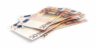 3d geef Vijftig Euro bankbiljetten terug royalty-vrije illustratie