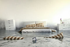 3d geef - Water damager - slaapkamer terug Royalty-vrije Stock Afbeeldingen