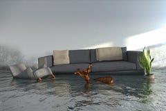 3d geef - Water damager terug Stock Afbeelding