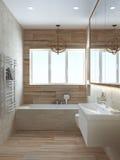 3D geeft de badkamers moderne stijl, terug Stock Foto's
