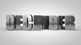 3d geeft de de kalendermaand metaaltekst van december terug royalty-vrije illustratie