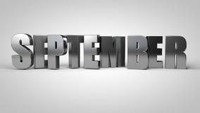 3d geeft de de kalendermaand metaaltekst van september terug stock illustratie