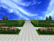 3D geeft de de tuin treelined steeg van het luxeherenhuis, terug royalty-vrije illustratie