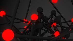 3D geeft het close-up abstract sc.i-FI van het atoomnet terug Royalty-vrije Stock Afbeelding