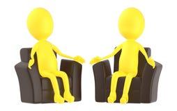 3d geel karakter, die in een bank zitten royalty-vrije illustratie