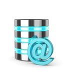 3d gegevensbestand en e-maildieteken over wit wordt geïsoleerd Stock Foto's