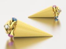 3D gelato della cialda dell'illustrazione due con tre anelli di oro con illustrazione di stock