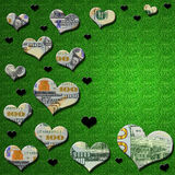 3-D geld & de zwarte harten op groen schitteren achtergrond Royalty-vrije Stock Foto's