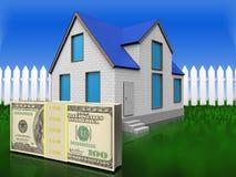 3d geld over gras en omheining Stock Afbeelding