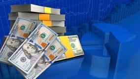 3d geldbankbiljetten Stock Foto