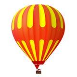3d gele en roodgloeiende luchtballon Stock Afbeelding