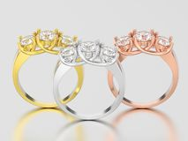 3D gele illustratie drie, nam en witgoud drie steendi toe Royalty-vrije Stock Afbeelding