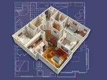 3D Geleverd Huisbinnenland op een Blauwdruk Stock Fotografie