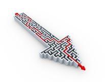 3d gelöstes Pfeilform-Labyrinthpuzzlespiel Lizenzfreies Stockfoto