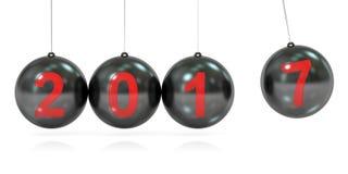 3D Gelukkig Nieuwjaar 2017 concept, in evenwicht brengende ballen Newton& x27; s wieg 3d Stock Fotografie
