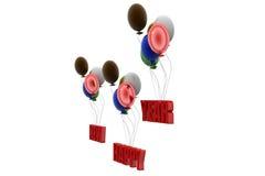 3d gelukkige nieuwe concept van de jaarballon Royalty-vrije Stock Afbeelding