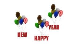 3d gelukkige nieuwe concept van de jaarballon Stock Afbeelding