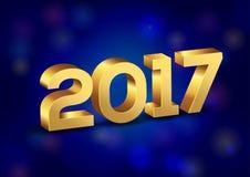 3D Gelukkige Nieuwjaar 2017 Gouden Vectoraantallen Stock Foto's