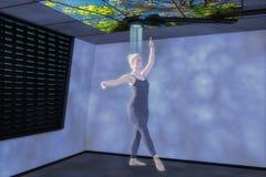 3d gemengde media van een hologramdanser Stock Foto's