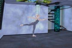 3d gemengde media van een hologramdanser Stock Fotografie