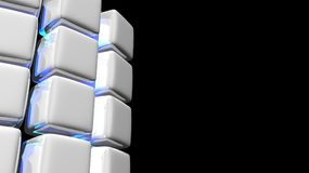 Abstract White Cube Background with Blue Light. 3D generated abstract background of white cubes partially curved Stock Photos