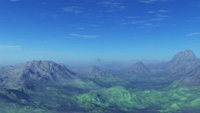 3d generated empty landscape: Misty mountains Stock Photos