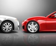 3D Generated Frontal Crash. 3D generated frontal car crash stock illustration