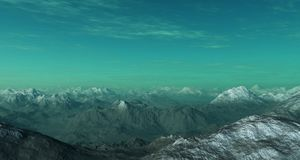 3d generated landscape: Misty mountains Royalty Free Stock Image